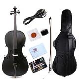 yinfente Elektro-Akustische Cello 4/4aus massivem Ahorn Fichte Holz Ebenholzgarnitur Sweet Sound mit Cello Tasche Schleife schwarz