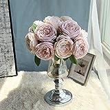 Bringbring Fiore Artificiale Fiore Finto Teste di Rose Sposa Bomboniera Bouquet Decorativo Seta per Fiori Esterne Festa Decorazione della Parete di Giardino 1 Bouquet (Rosa)