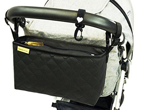 Buggy Organizer Carrozzina Passeggino multifunzionale Passeggino impermeabile Borsa per Pannolini Black Quilted Pelle trapuntata nera [075]