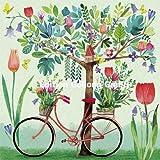 Mila Marquis Postkarte 140x140mm ~ Fahrrad unter einem Baum ~ Effektlack