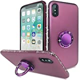 Slynmax Coque iPhone X Bague, iPhone X Un Stylo Tactile,Housse de Elegant étincellement Diamond Coque 360 Degrés Rotation Ring Etui Rigide Silicone TPU,Fine Bumper Cover pour Apple iPhone X-Violet