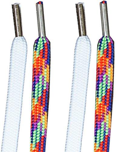 Easy Tie Schnürsenkel Rainbow / White (Baumwolle Band Rainbow)