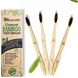 Nubeter Cepillos de dientes de bambú | Paquete de 4 | Ecológico | Blanqueamiento de dientes naturales | Vegan Friendly | Embalaje reciclable | 100% biodegradable | 4 paquetes