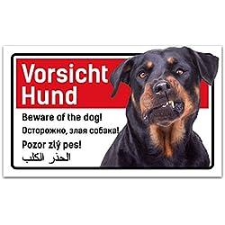 Vorsicht Hund Schild 5-sprachig 25x15cm Rottweiler