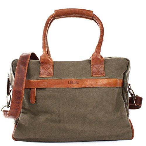 LECONI kleiner Weekender Rindsleder Canvas Handgepäck XL Shopper Damen Herren Arbeitstasche 40x30x15cm grün LE2007-C