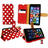 Emartbuy® Microsoft Lumia 535 / Lumia 535 Dual Sim Brieftaschen Wallet Etui Hülle Case Cover aus PU Leder Polka Dots Rot Weiß mit KRotitkartenfächern