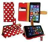 Emartbuy® Microsoft Lumia 535 / Lumia 535 Dual Sim Premium PU Cuero Funda Wallet Soporte Sobremesa Carcasa Case Cover Alta Calidad Lunares Rojo Blanco con Tarjeta de Crédito Slots