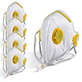 5 Pack of THE CHEMICAL HUT® Flat Fold P3 Valve Respirator Face Mask for Asbestos, Hardwood Dust Glass Fibres & Plastic Particles - Comes with TCH Anti-Bacterial Pen!