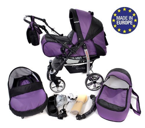 Baby-Sportive-Sistema-de-viaje-3-en-1-silla-de-paseo-carrito-con-capazo-y-silla-de-coche-RUEDAS-GIRATORIAS-y-accesorios-color-morado-negro