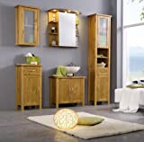 SAM® Badmöbel-Set 5-tlg, Kiefernholz honigfarben lackiert, Badezimmermöbel, Waschbeckenunterschrank, Spiegelschrank, Hochschrank, Hängeschrank, Unterschrank