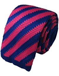 Hot Pink & Blue Striped Knitted Tie