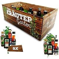 Männer-Kräutergarten | witziges Geschenk mit Alkohol | 8x Kräuter-Likör für Männer und Frauen | Jägermeister, Kümmerling u.v.m.