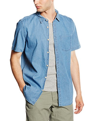 New Look Denim Geo Print, Chemise Casual Homme Bleu - Blue (Mid Blue)