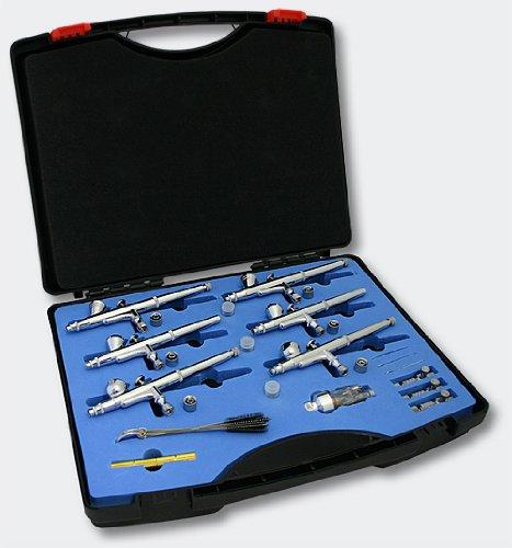 WilTec Kit d'aérographes pour design d'ongles Six aérographes en étui
