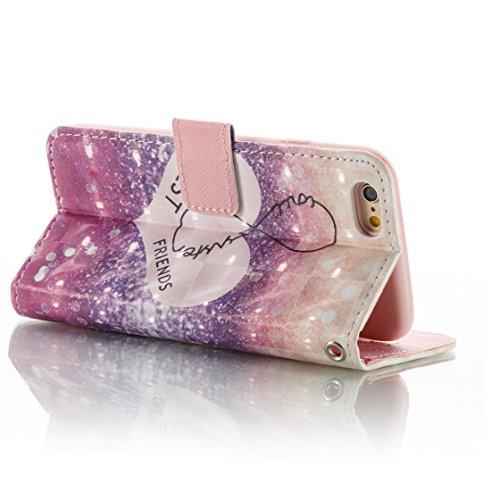 iPhone 6s Custodia, Copertura per iPhone 6S/6 4.7, | PU Portafoglio in pelle Progettato case di Slot per schede stare | | Diamanti Bling Totem blu | Polvere di scorrimento antigraffio Cover rosa 3