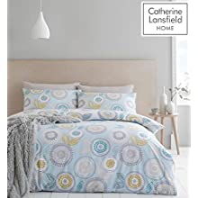 Catherine Lansfield Anja Floral Easy Care Double Duvet Set Duck Egg