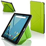 Forefront Cases® Google Nexus 9 8.9 Zoll Origami Hülle Schutzhülle Tasche Bumper Folio Smart Case Cover Stand - R&um-Geräteschutz & intelligente Auto Schlaf/Wach Funktion (GRÜN)