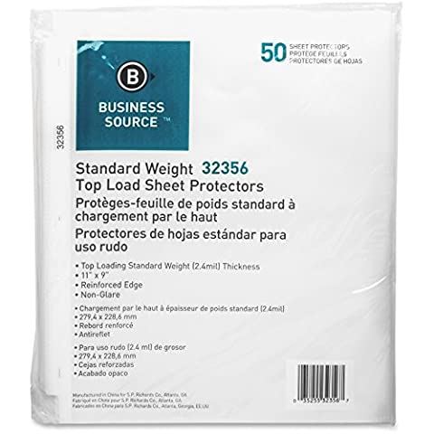 Sheet Protectors,Top Load,2.4 mil,11x8-1/2,50/PK,Nonglare, Sold as 1 Package by Business Source