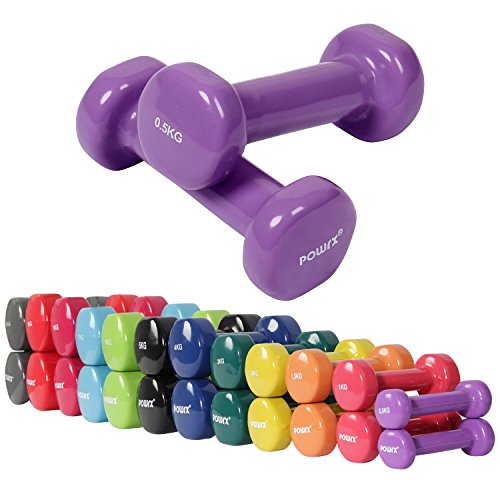 Vinyl Hantel Paar Ideal für Gymnastik Aerobic Pilates 0,5 kg – 10 kg | Kurzhantel Set in versch. Farben (2 x 0,5 kg)