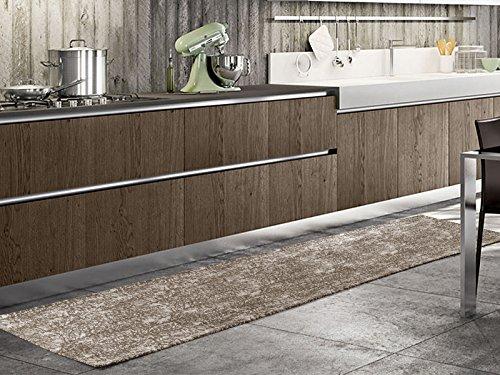 le Timber Läufer Teppich Modern Pfannen, hell und vielseitig, Rutschfest Mehrfarbig geeignet auch für die Kammern und Das Wohnzimmer 55x190 braun ()