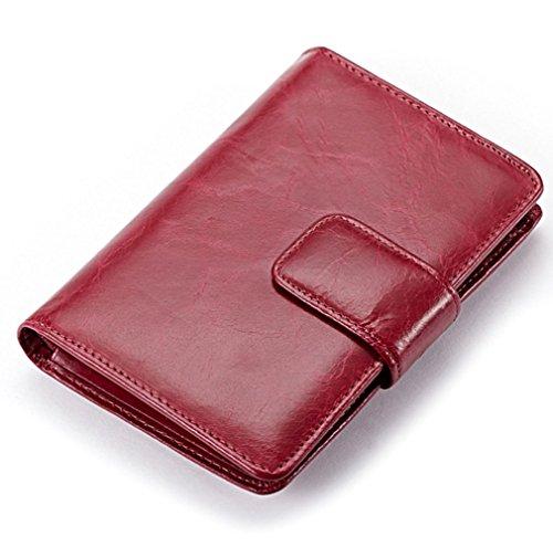 edfamily Echteder Geldbörsen Geldbeutel Kreditkartenetui Visitenkarten Münzbörsen Tasche für Damen und Herren (Brown) Rosa