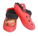 Emanhu Trading Winter Clogs Kinder Hausschuhe Pantoffel Sandalen Gefüttert Motive (31-32, Cars (Rot/Schwarz))
