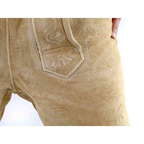 ALMBOCK kurze Lederhose Herren Tracht | Lederhose kurz Herren braun mit verstellbaren Hosenträgern | Lederhose kurz Tracht - Lederhose Herren kurz 46 - 4