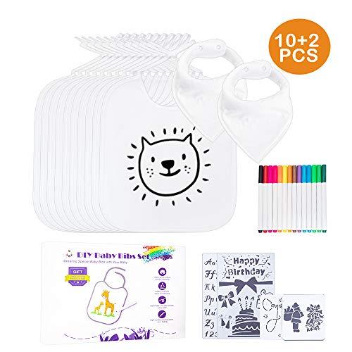 Baby Lätzchen zum Bemalen,GogoTool 10 Stück Wasserdicht Lätzchen mit 2 Dreieck Schal,14 Textilstiften und 4 Schablonen,für Jungen Mädchen, Abwaschbar,Baby-Geschenke mit Geschenkbox