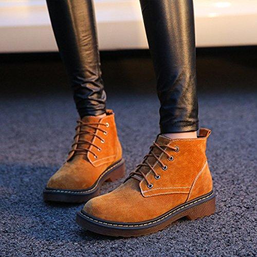 Bottes D'automne Et D'hiver Martin Femmes Bottes Bottes En Cuir Femmes Épais Chaussures À Lacets Dames Nu Kakiplusvelvet