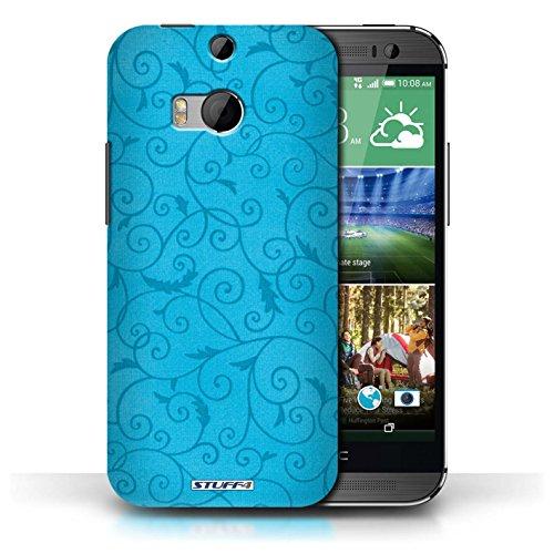 Kobalt® Imprimé Etui / Coque pour HTC One/1 M8 / Bleu conception / Série Motif de la vigne Turquoise