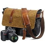 Neuleben Kameratasche oder Aktentasche Vintage Wasserdicht Unisex Canvas Leder Messenger Bag Laptoptasche für DSLR Objektiv Laptopfach (Schwarz)
