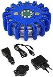 Tenzo-R 21216 LED Warnleuchte Rundumleuchte Absicherung Warnblitzer blau mit Akku + Ladekabel