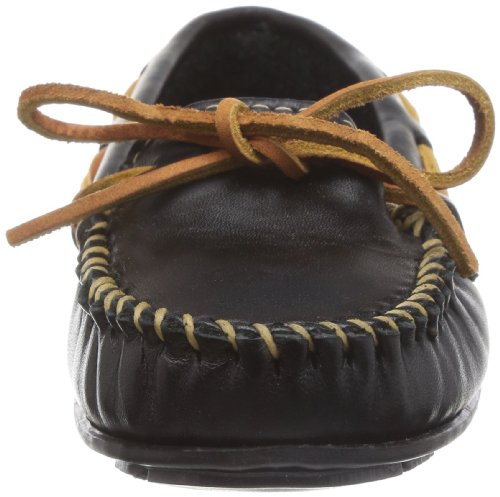 Minnetonka - Smooth Leather Moc, Mocassino da donna Nero (Black)