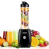 Aicok Mini Standmixer, Smoothie Maker Mix & Go 300W, 600ml Tritan Flasche, Edelstahlmesser,Zwart