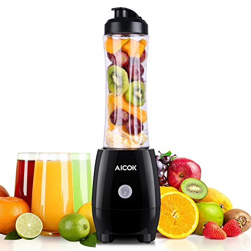 Aicok Mini Standmixer, Smoothie mixer, Smoothie Maker to go 300 watt, 600 ml tritan drinkfles bpa vrij, zwart