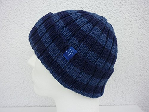 Strickmütze dunkelblau jeansblau gestreift - rundgestrickt aus Schurwolle handgestrickt