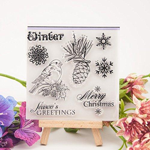 Dchaochao Weihnachts-Gummi-Stempel, perfekt klarer Stempel, Fotoprägung, Album, dekorative Karten, transparent, Silikon-Stempel, zum Basteln -