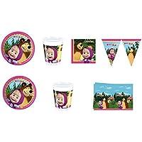 CDC - Juego N°19 para fiestas infantiles con los personajes de Masha y el Oso. Incluye 24 platos, 24 vasos, 40 servilletas, 1 mantel y 1 guirnalda.