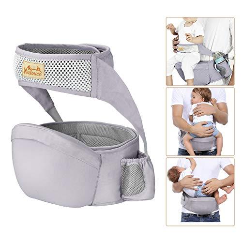 Viedouce Hipseat Marsupio con protezione per cintura di sicurezza,Puro Cotone Leggero e Traspirante,Ergonomico Neonati Marsupio Sicurezza Supporto per Bambino da 3-48 Mesi (Grigio)