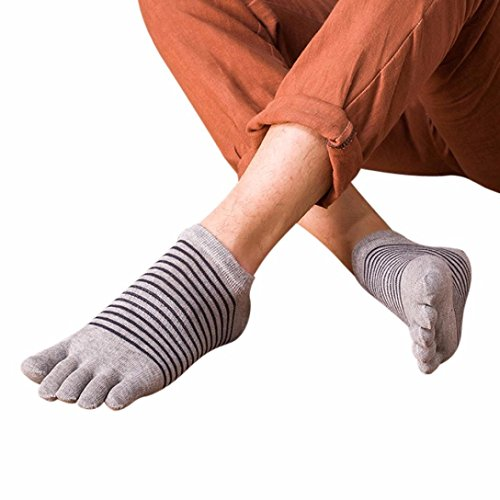 Kanpola Herren Five Toe Socken, Pure Breathable Sport Trainer Lauf Yoga Finger Socken (M, H) (Toe Gold Jungen Socken)