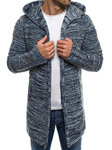 OZONEE Herren Strickjacke Kapuzenpullover Hoodie Sweatshirt MADMEXT 1734 XL DUNKELBLAU