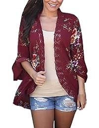 16e3146032a4 AILIENT Strickjacken Damen Lang Schöne Cardigan Lange Ärmel Stickerei  Floral Sweatshirt Baggy Modisch Mantel Outwear Tops Elegant…