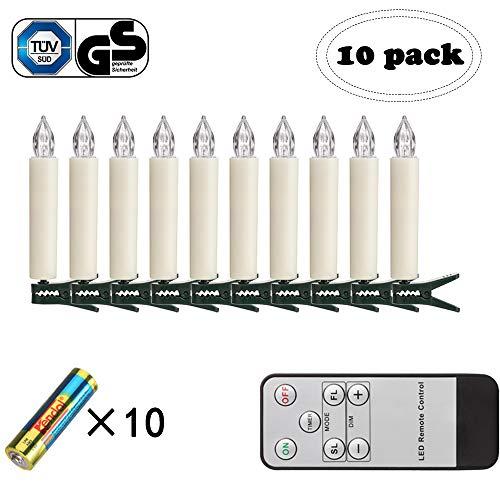 FreePower Mini Kabellose LED Weihnachtskerzenlicht, Fernbedienung Kerzen mit Batterien und Timer, Set mit 10 Kerzen mit warmweißem Licht, ideal für Weihnachtsdekoration, Urlaubsdekoration