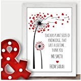 Personalised Thank You Teacher Gift, Childminder, TA, Teaching Assistant, Headteacher - Thank You Gifts for Teachers, Nursery Teachers - ANY RECIPIENT from ANY NAME - A5, A4 Prints and Frames