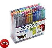 LolliZ Set di 70 penne a sfera a inchiostro gel, multicolore | penne gel colorate