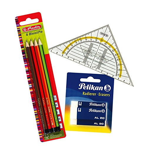 Herlitz Bleistifte Scolair aus FSC Holz, Härtegrad H / HB / B / 2B, 4 Stück, lackiert (1,...