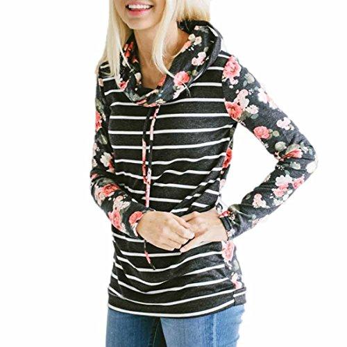 OVERDOSE Mokingtop Damen Floral Splice Printing Rundhals Pullover Bluse Tops T-Shirt (S, Y-Hoodies-16) (Top Tunika Graue)
