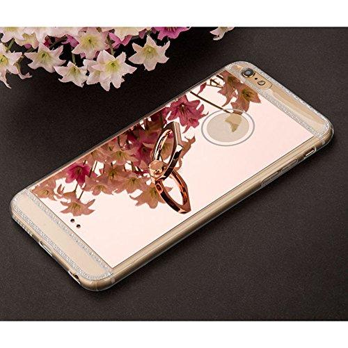 Cuitan TPU + PC Spiegel Hülle Schutzhülle für Apple iPhone 6 / 6S 4.7 Zoll, Glitter Bling Handyhülle mit Ständer, Rück Abdeckung Schutzhülle Rückseite Back Case Cover für iPhone 6 / 6S - Roségold Roségold