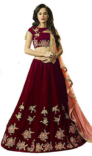 Alazra Creation Women's BlackBerry Maroon Velvet Choli (duck_Maroon_Semi-Stitched_Choli)