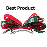 NeedyBee Hair Clips for Toddlers/Girls/Babies With Christmas Bow(Kids Hair Accessories) (Red & Green)